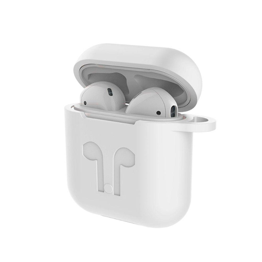 Capa Case Especial de Silicone para Airpods Branco com Desenho de Fones