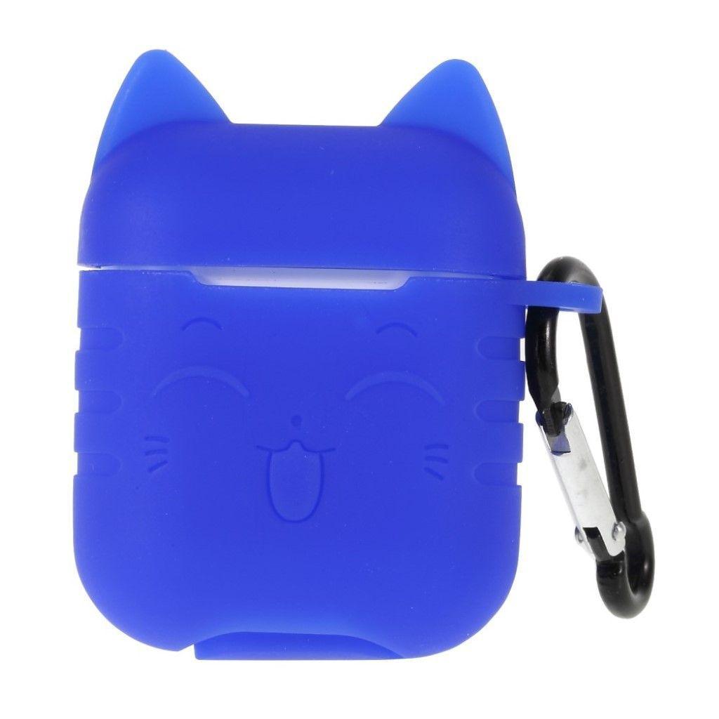 Capa Case Especial de Silicone para Airpods Cat Azul