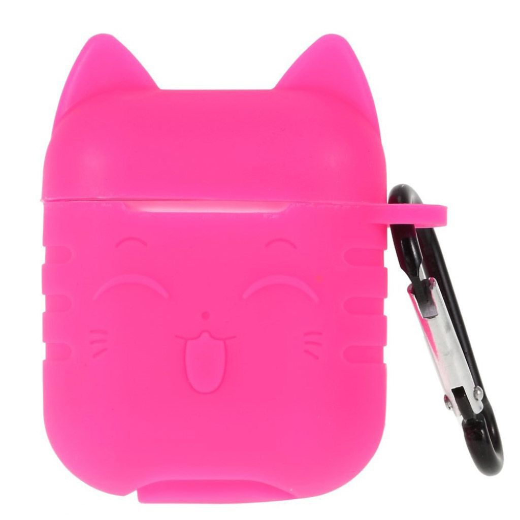 Capa Case Especial de Silicone para Airpods Cat Rosa Neon