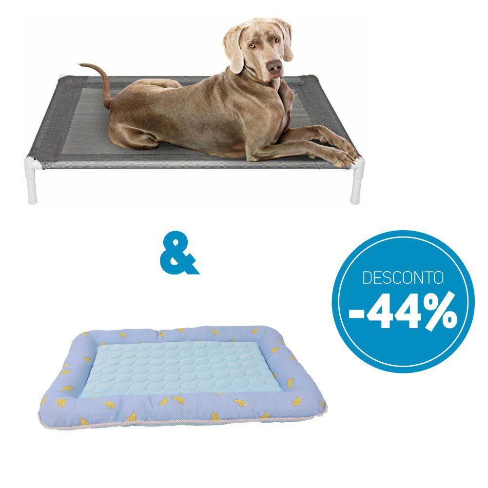 Compre 2 itens: Cama Pet Elevada e Colchonete para Pet com 44% de desconto o kit