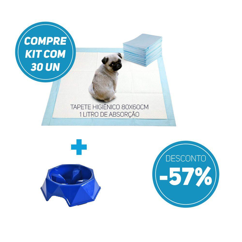Compre 2 Itens - Tapete Higiênico kit 30 un Tam 80 x 60cm Absorção 1 litro + 1 Comedouro Lento com 57% de desconto
