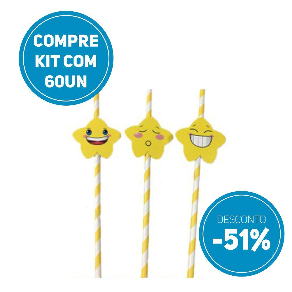 Compre AGORA kit 60 unidades de Canudo de Papel Biodegradavel Personalizados com Estrelas  e ganhe 51% de desconto