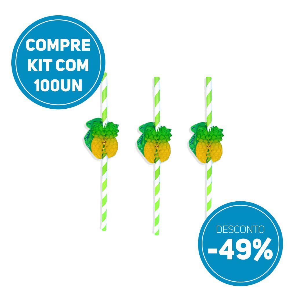 Compre JÁ kit 100 unidades Canudo de Papel Biodegradavel  com Abacaxi Sanfonado e ganhe 49% de desconto