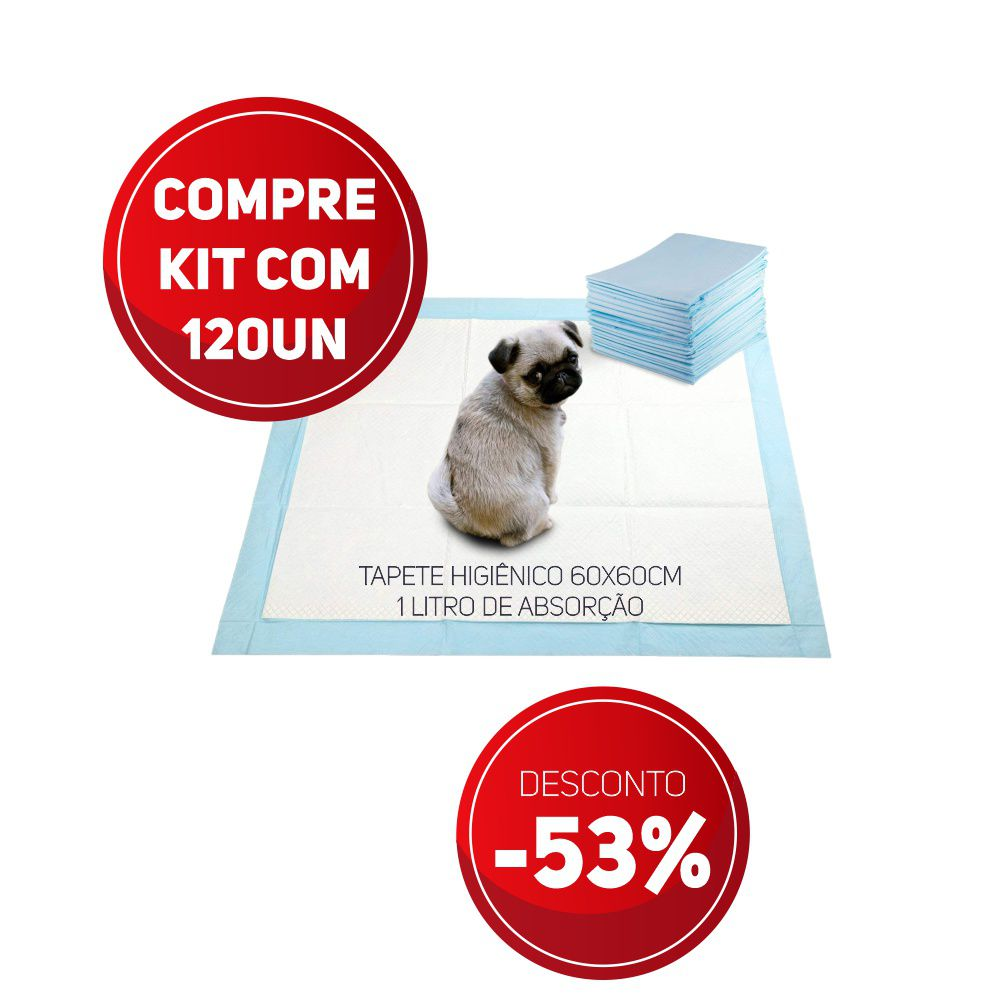 Compre Kit 120 un de Tapete Higiênico Tam 60 x 60cm Absorção 1 litro com 53% de desconto
