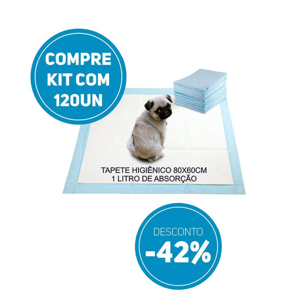 Compre Kit 120 un de Tapete Higiênico Tam 80 x 60cm Absorção 1 litro com 42% de desconto