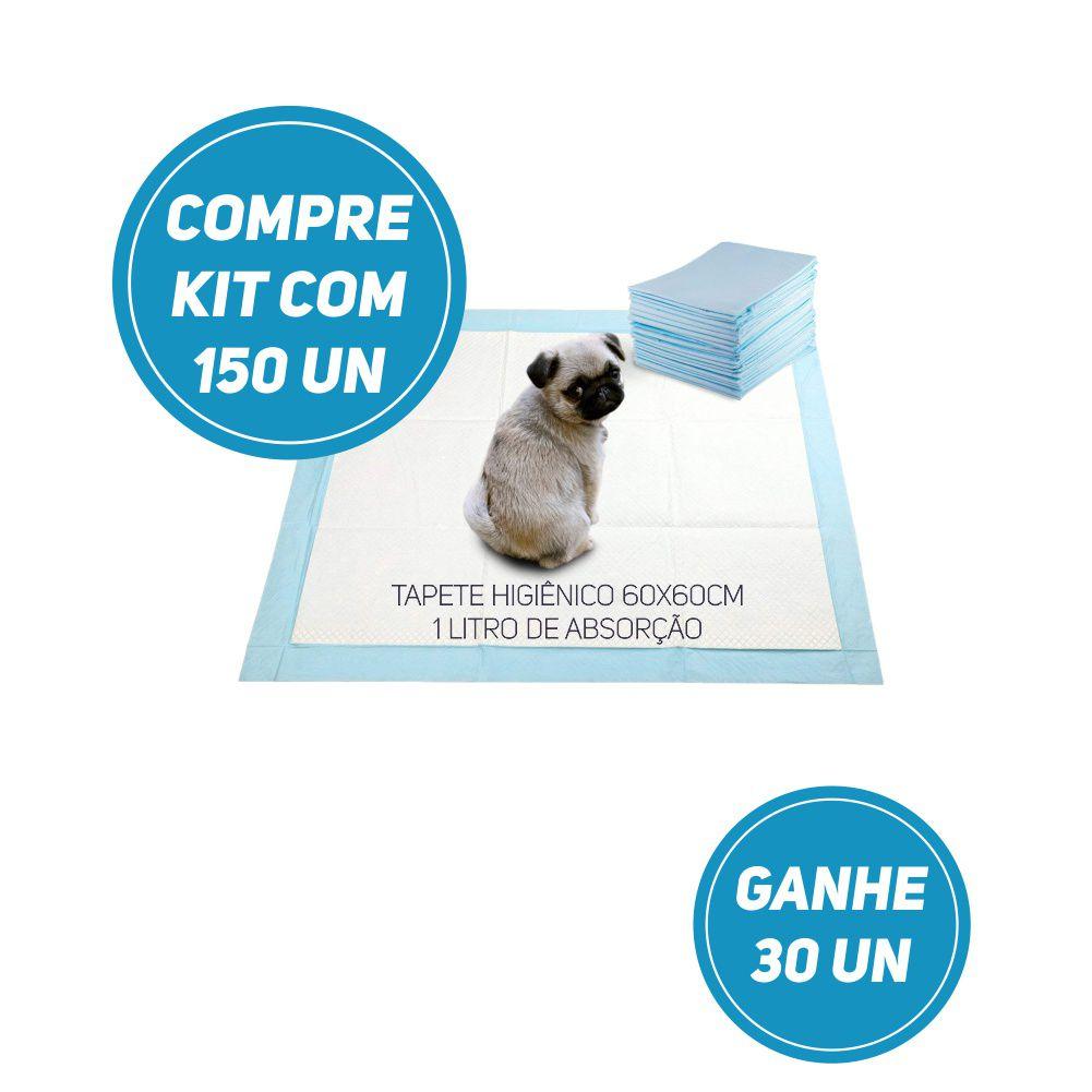 Compre Kit 150 un de Tapete Higiênico Tam 60 x 60cm Absorção 1 litro e leve + 30 un GRÁTIS!