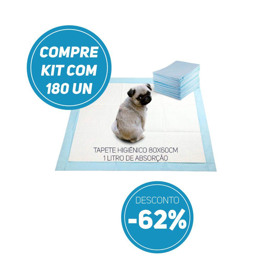 Compre Kit 180 un de Tapete Higiênico Tam 80 x 60cm Absorção 1 litro com 62% de desconto