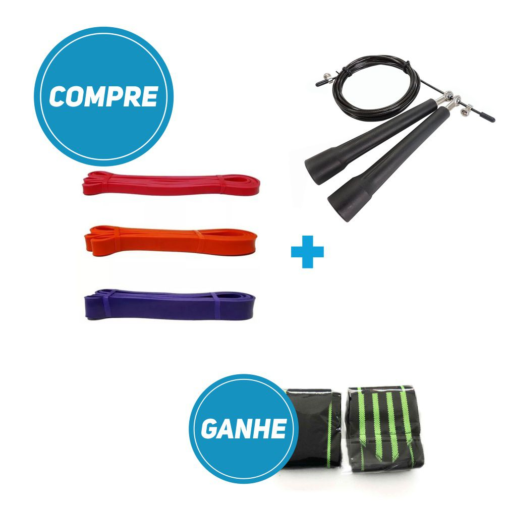 Compre Kit Super Band + Corda Profissional de Plástico e leve grátis 1 par de Munhequeira.