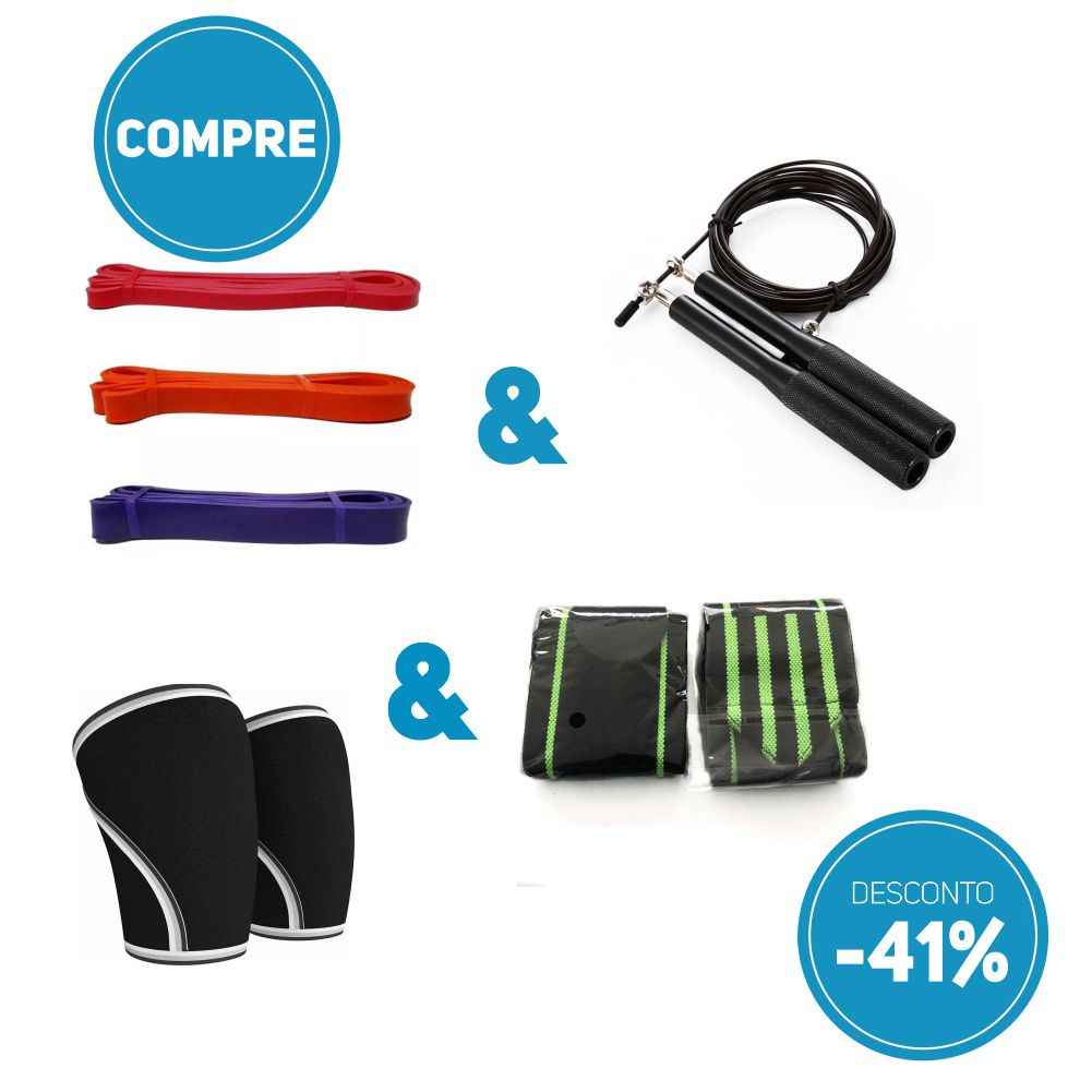 Compre Kit Super Band + Corda Profissional de Aluminio + 1 Par de Munhequeira + 1 Par de Joelheira com 41% de desconto