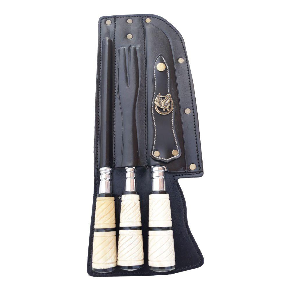 Facas Para Churrasco Artesanal – Kit Faca e Chaira e Garfo 9 Polegadas de Lâmina Inox Osso