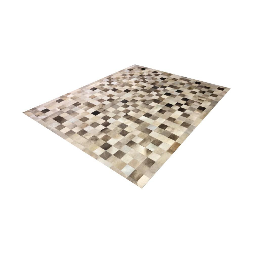 Tapete de Couro de Boi 2,5m X 2m Natural Costurado 10cm x 10cm Com Borda - OF42