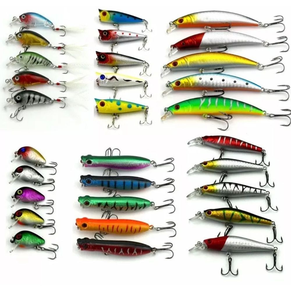 Isca Artificial Pesca Kit com 30