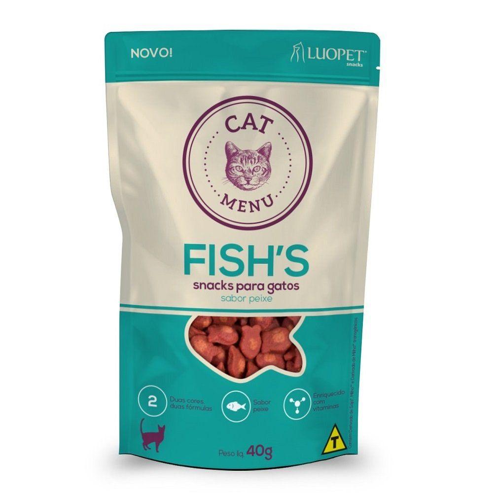 Kit 3 Petiscos Luopet Cat Menu Fishs para Gatos
