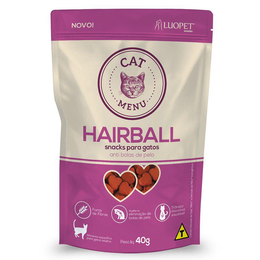 Kit 3 Petiscos Luopet Cat Menu Hairball para Gatos