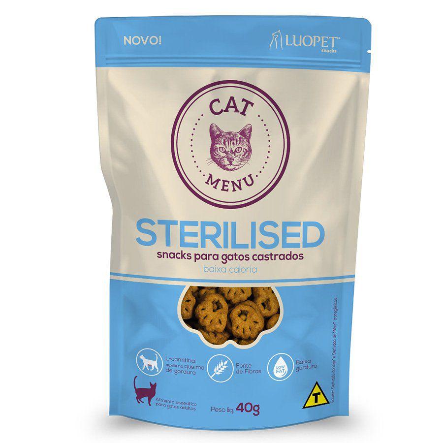 Kit 3 Petiscos Luopet Cat Menu Sterilised para Gatos