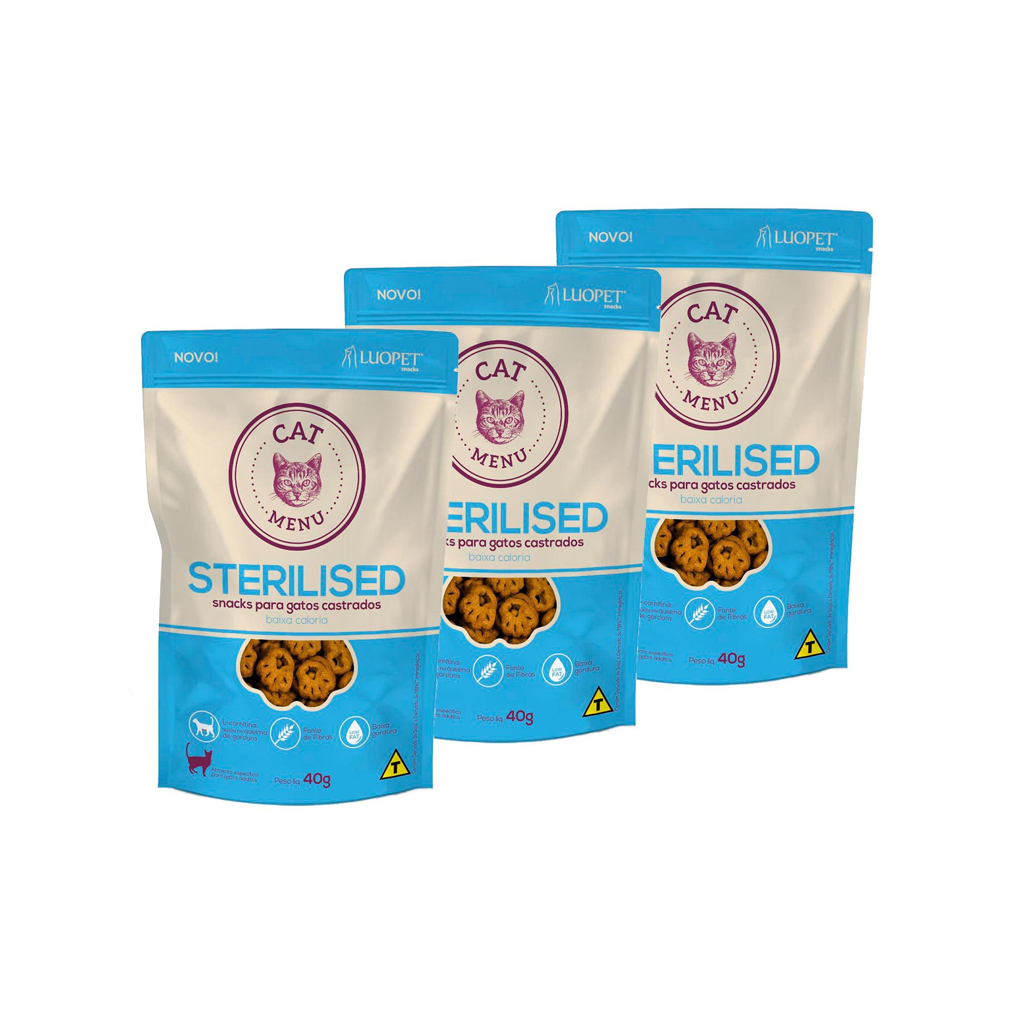 Kit 3 Petiscos Luopet Cat Menu Sterilised para Gatos