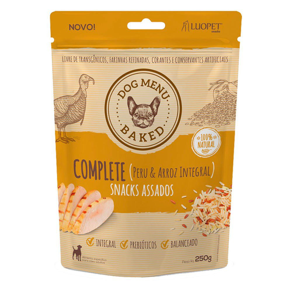 Kit 3 Snacks Luopet Dog Menu Baked Completo para Cães