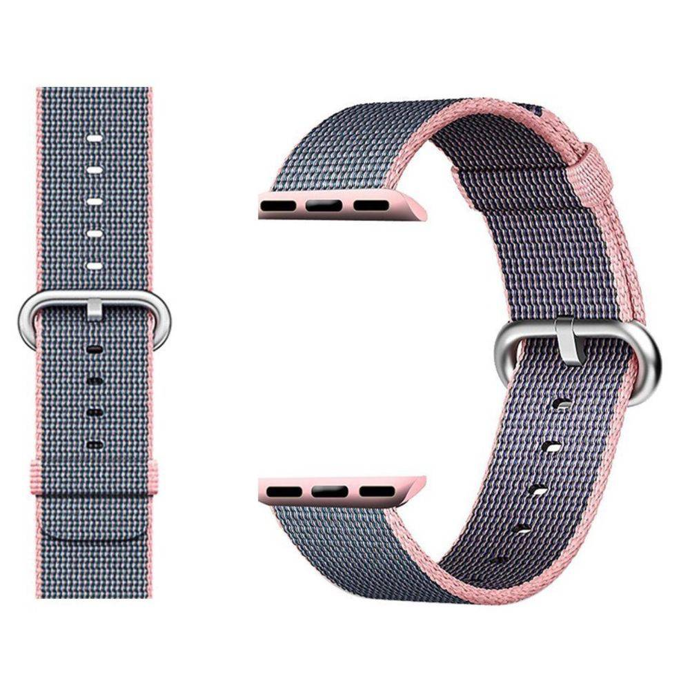 PULSEIRA Nylon Sport Loop para Apple Watch 42/44 mm Cinza e Rosa