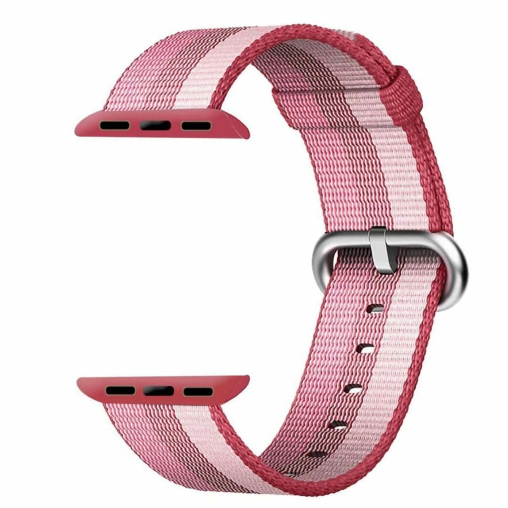 PULSEIRA Nylon Sport Loop para Apple Watch 42/44 mm - Rosa com Listras