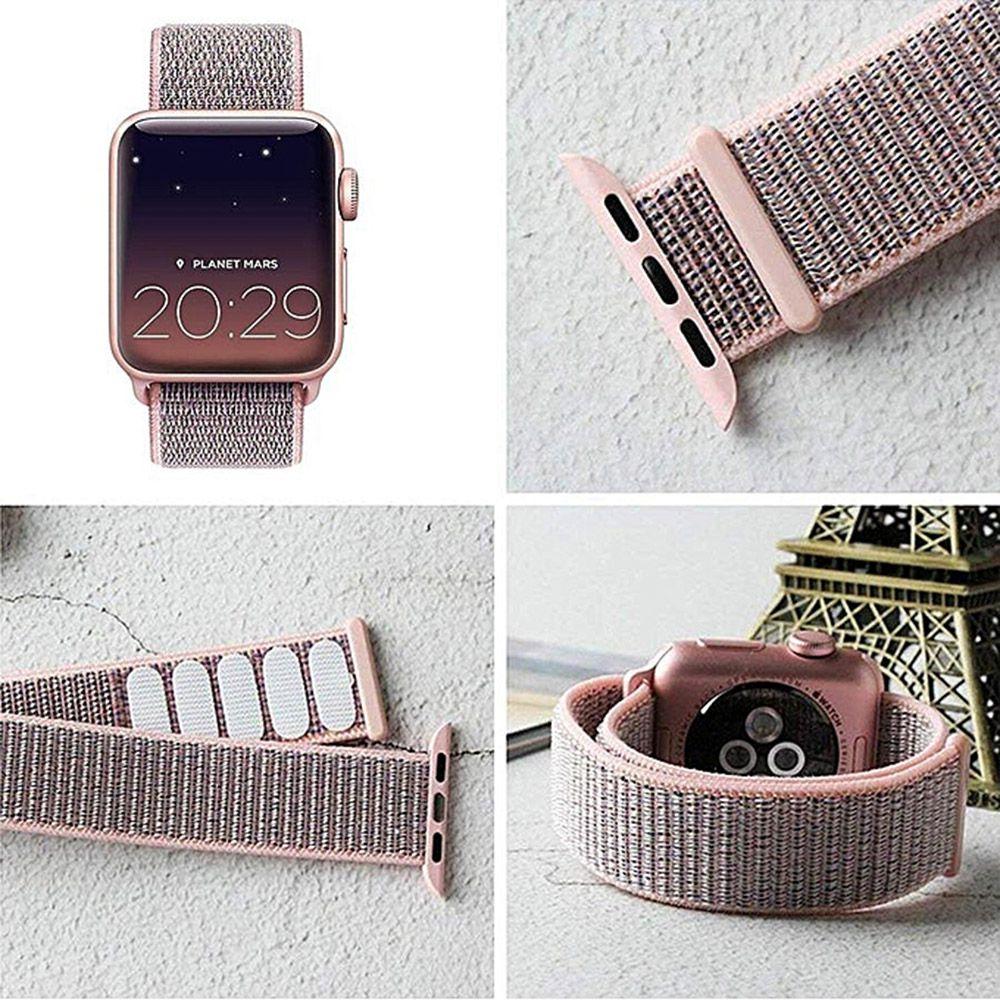 PULSEIRA Nylon Sport Loop STRAPS para Apple Watch 42/44 mm - Rosa