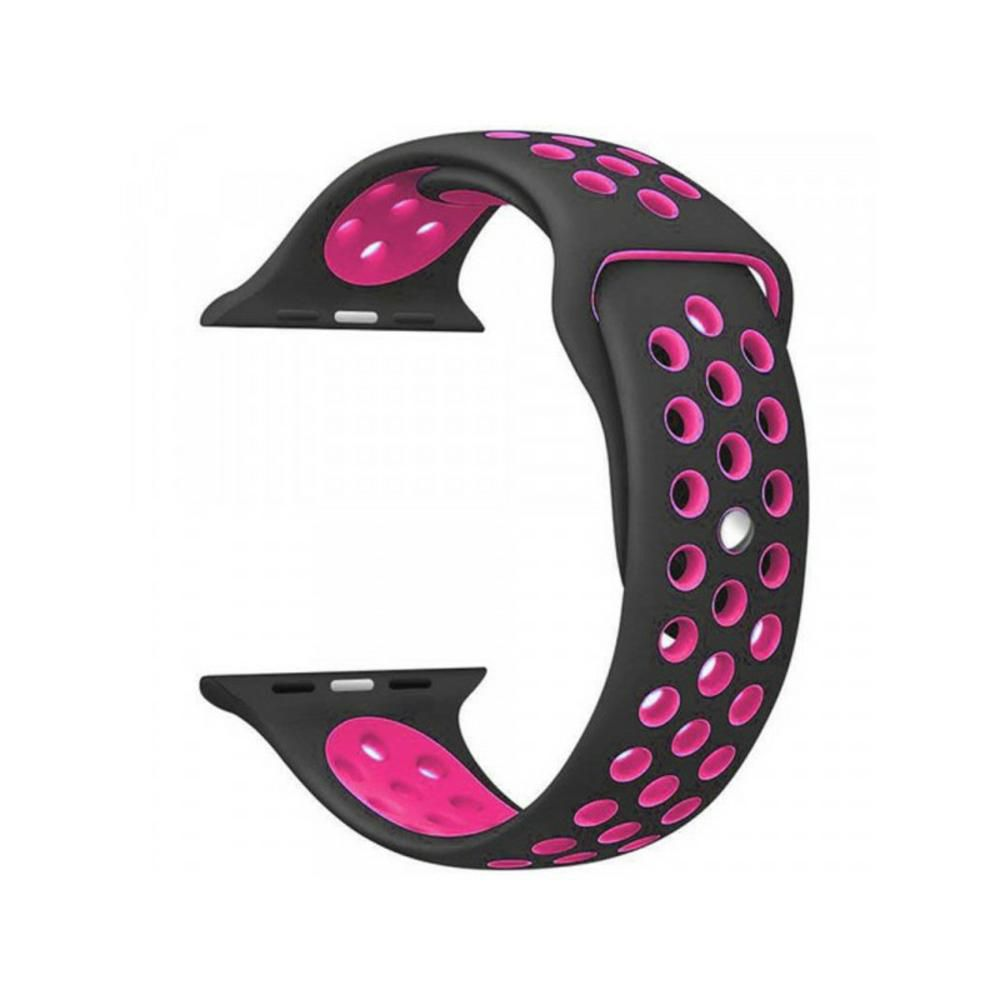 PULSEIRA Sport Silicone Nk Furo Para Apple Watch 1 2 3 4- 42/44 mm - Preto e Rosa