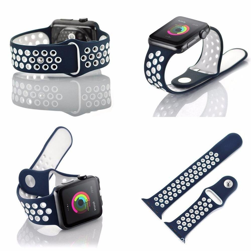 Pulseira Sport Silicone Nk Furo Para Apple Watch 1 2 3 4- 42/44mm - Azul/Branco