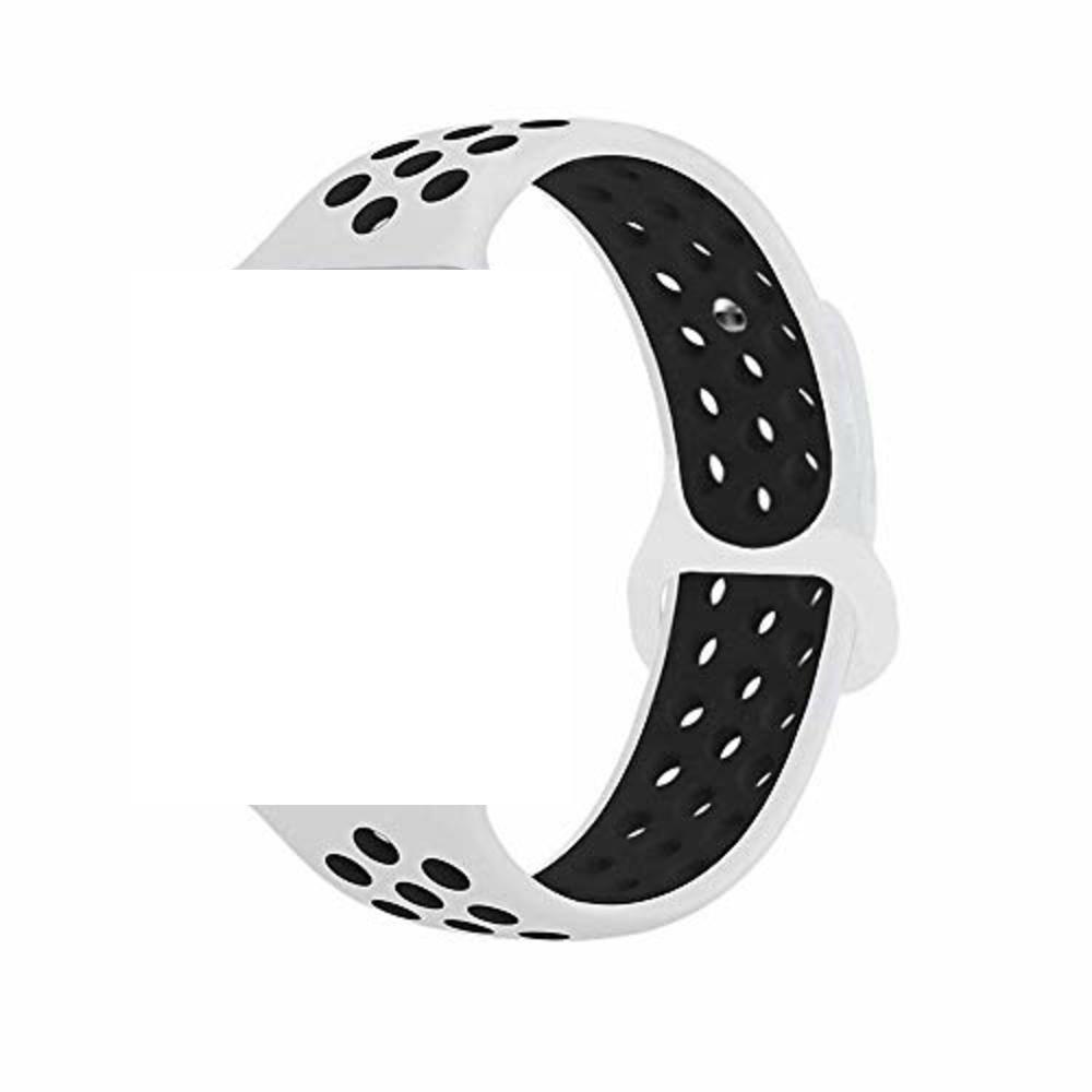 Pulseira Sport Silicone Nk Furo Para Apple Watch 1 2 3 4- 42/44mm - Branco e Preto