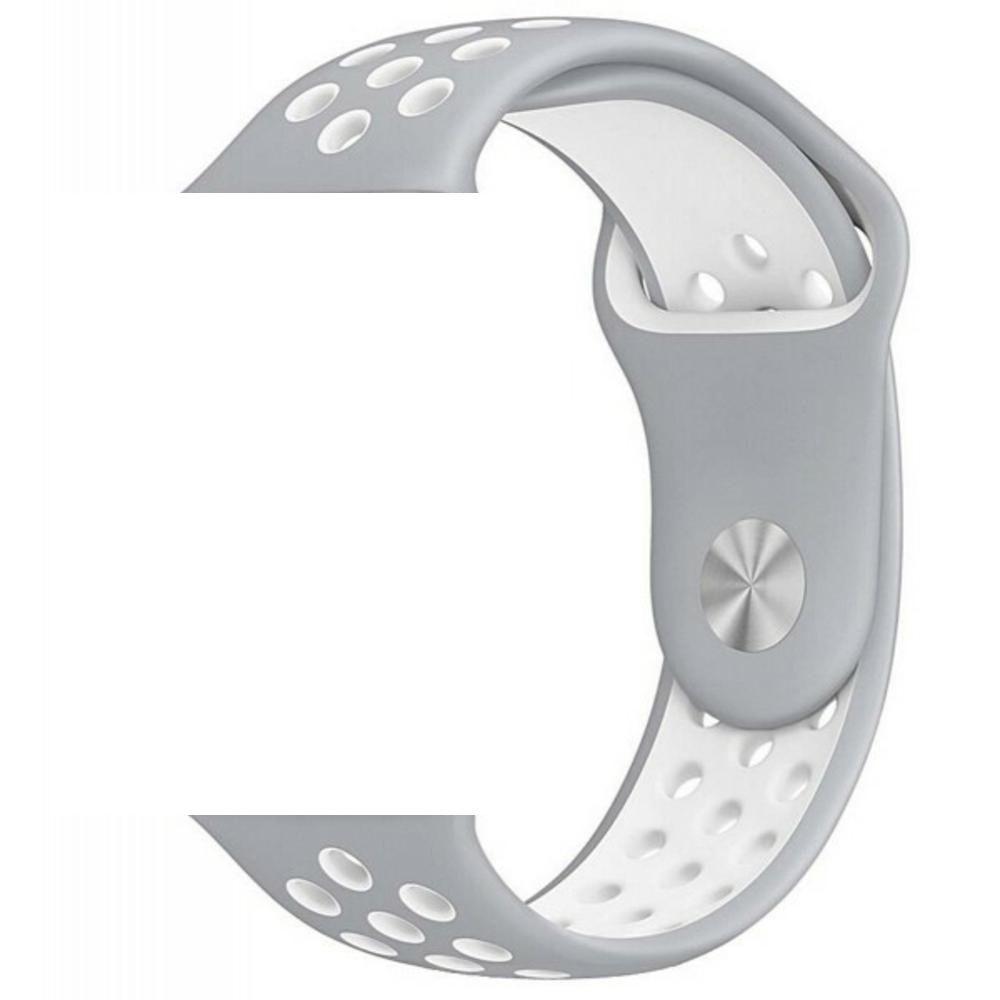 Pulseira Sport Silicone Nk Furo Para Apple Watch 1 2 3 4- 42/44mm - Cinza/Branco