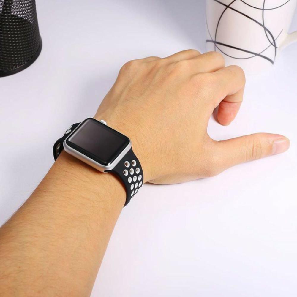 Pulseira Sport Silicone Nk Furo Para Apple Watch 1 2 3 4- 42/44mm - Preto/Branco