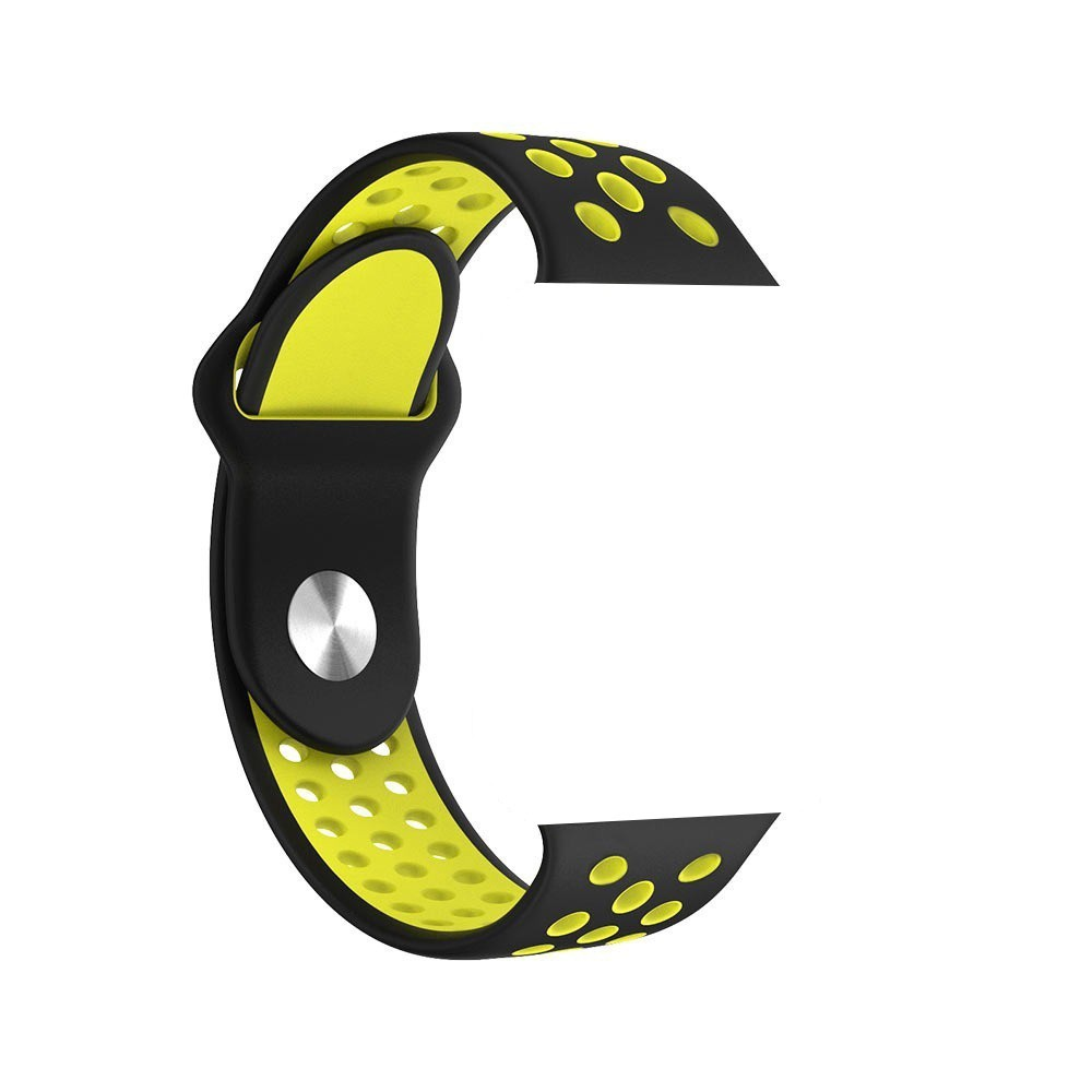 Pulseira Sport Silicone Nk Furo Para Apple Watch 1 2 3 4- 42/44mm - Preto e Amarelo