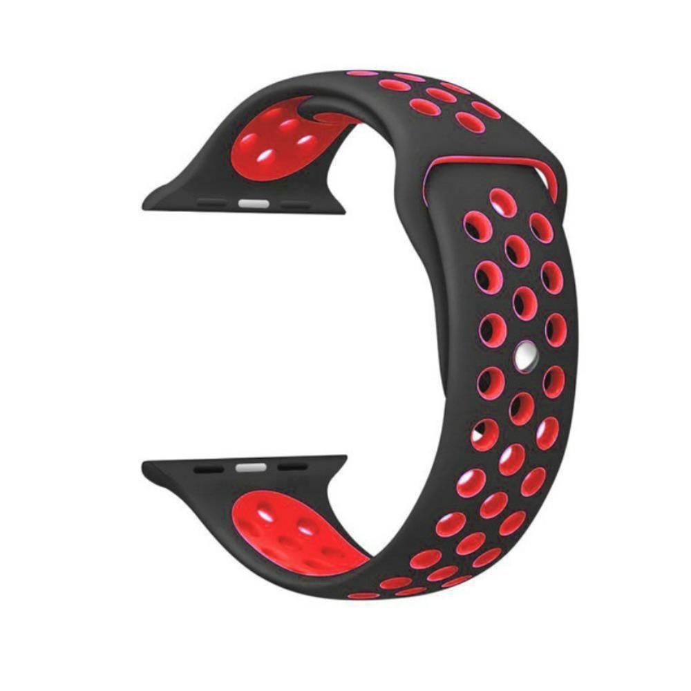 Pulseira Sport Silicone Nk Furo Para Apple Watch 1 2 3 4- 42/44mm - Preto e Vermelho