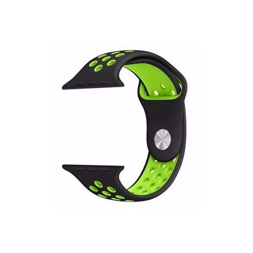 Pulseira Sport Silicone Nk Furo Para Apple Watch 1 2 3 4- 42/44mm - Preto/Verde