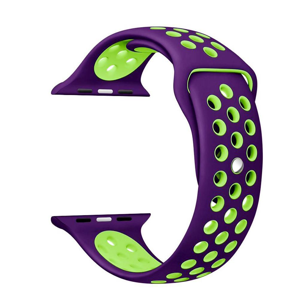 Pulseira Sport Silicone Nk Furo Para Apple Watch 1 2 3 4- 42/44mm - Roxo e Verde
