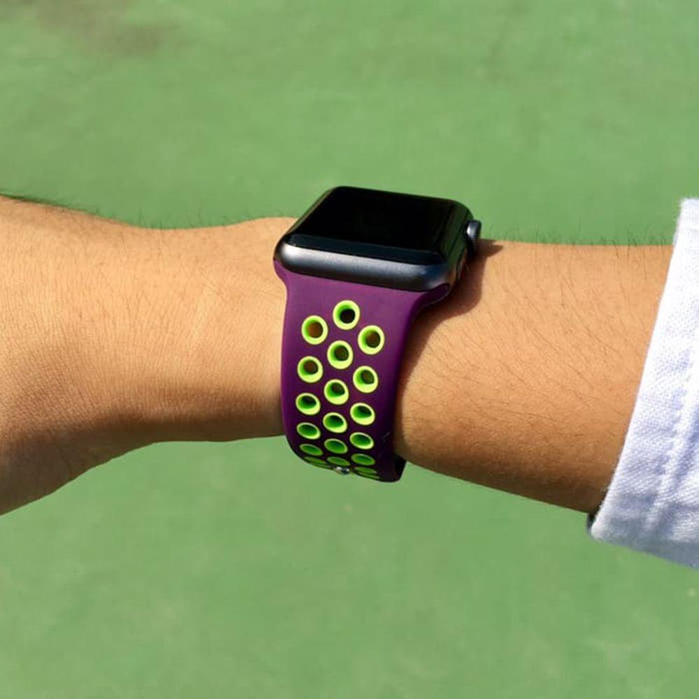 Pulseira Sport Silicone Nk Furo Para Apple Watch 1 2 3 4- 42/44mm - Roxo e Verde