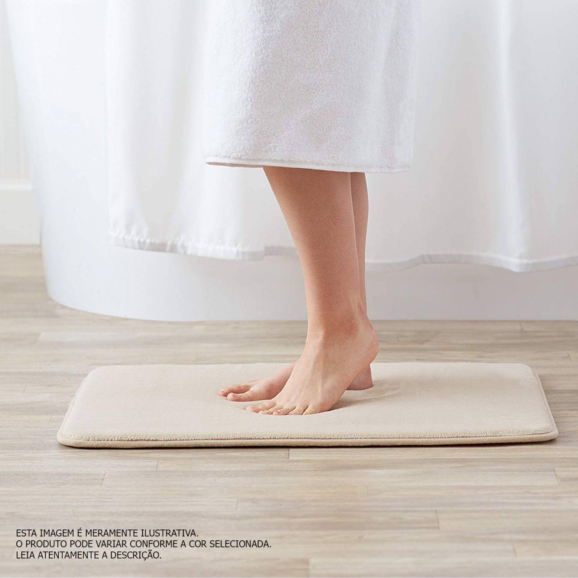 Tapete de Banheiro kit com 2 branco super soft com espuma viscoelastica