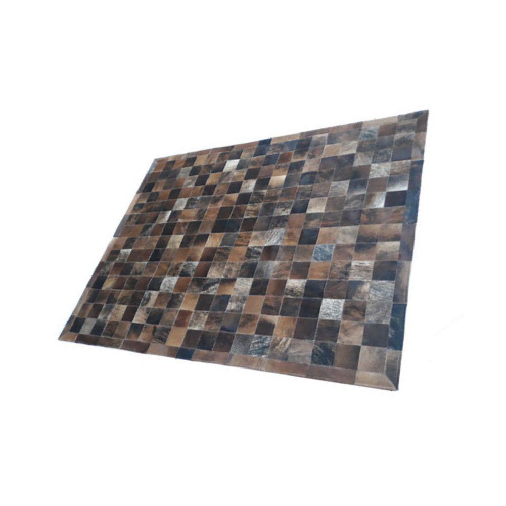 Tapete de Couro de Boi 2,0m X 1,5m Natural Costurado 7cm x 7cm Com Borda - AM01