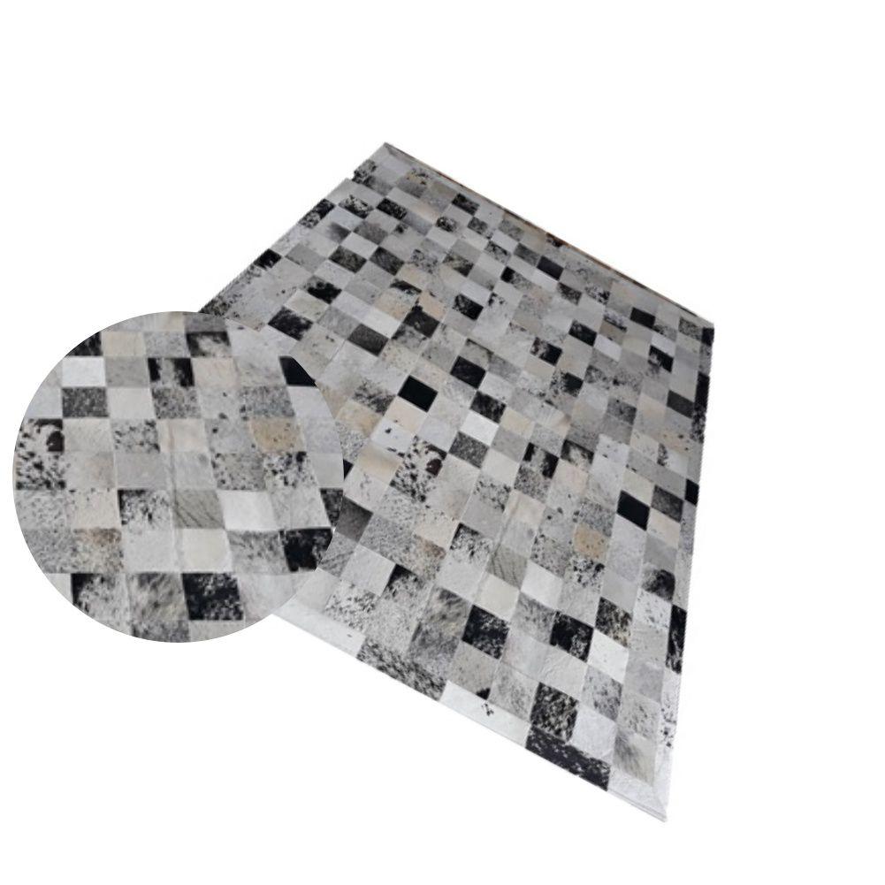 Tapete de Couro de Boi 2,0m X 1,5m Natural Costurado 10cm x 10cm Com Borda - AM02