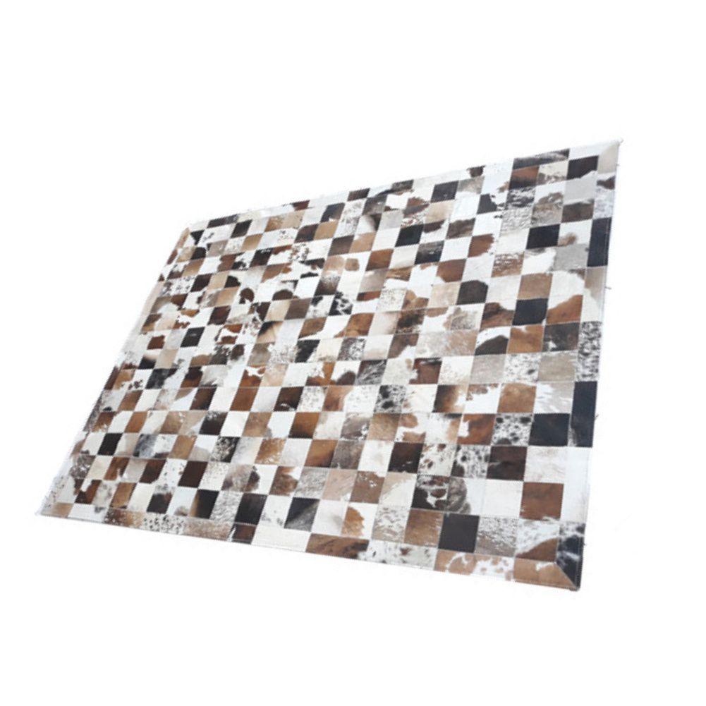 Tapete de Couro de Boi 2,0m X 1,5m Natural Costurado 10cm x 10cm Com Borda - OF03