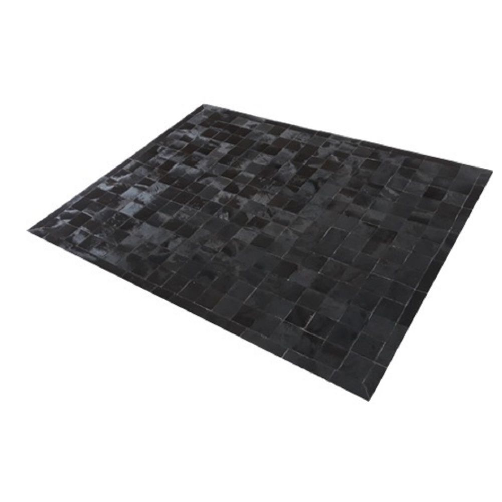Tapete de Couro de Boi 2,0m X 1,5m Natural Costurado 10cm x 10cm Com Borda - OF32