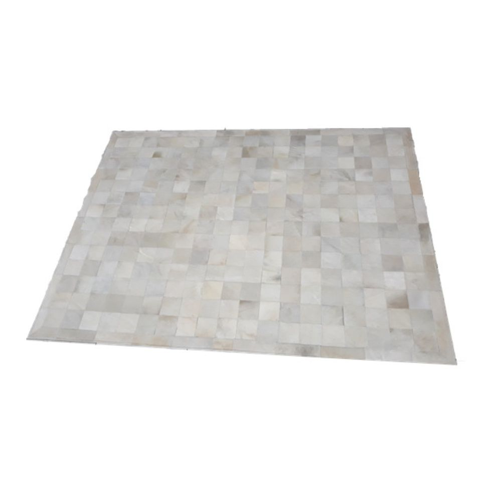 Tapete de Couro de Boi 2,5m X 2m Natural Costurado 10cm x 10cm Com Borda - OF09