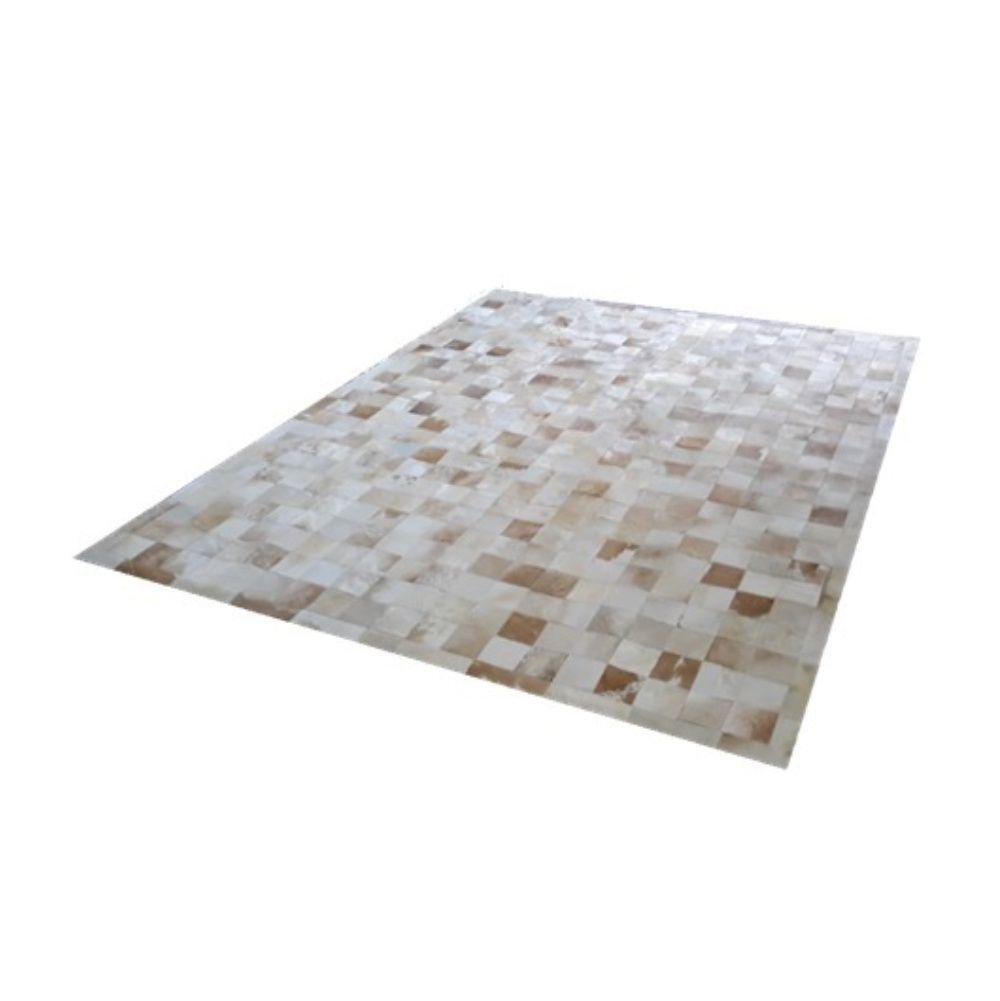 Tapete de Couro de Boi 2,5m X 2m Natural Costurado 10cm x 10cm Com Borda - OF28