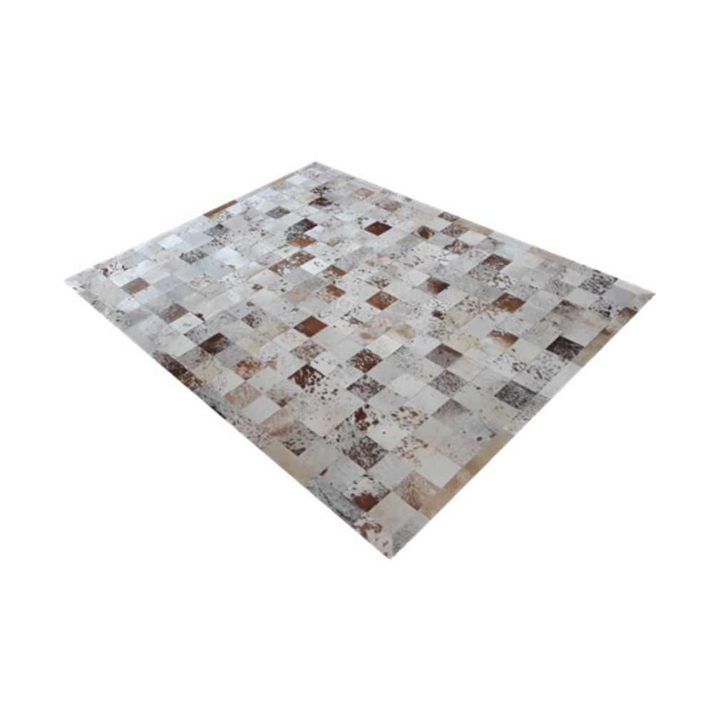 Tapete de Couro de Boi 2,5m X 2m Natural Costurado 10cm x 10cm Com Borda - OF30