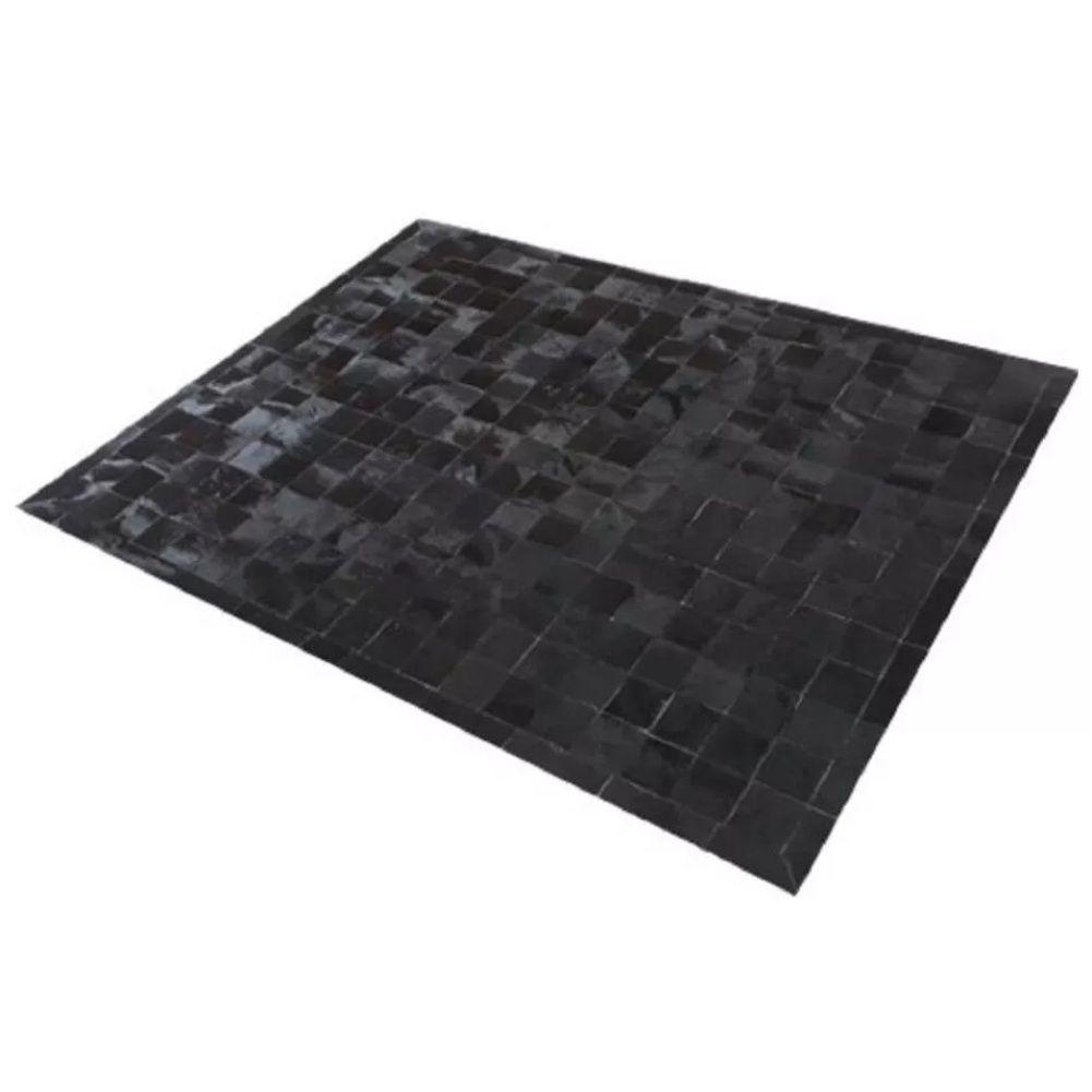 Tapete de Couro de Boi 2,5m X 2m Natural Costurado 10cm x 10cm Com Borda - OF32