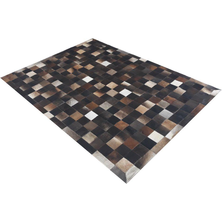 Tapete de Couro de Boi 2,5m X 2m Natural Costurado 10cm x 10cm Com Borda - OF36