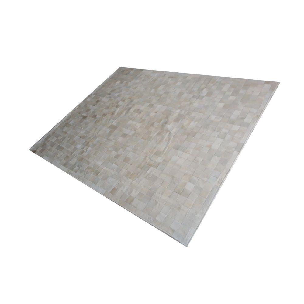 Tapete de Couro de Boi 2,5m X 2m Natural Costurado 7cm x 7cm Com Borda - OF09