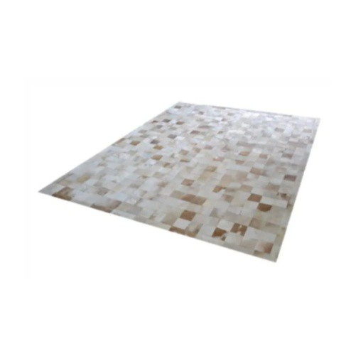 Tapete de Couro de Boi 2,5m X 2m Natural Costurado 7cm x 7cm Com Borda - OF28
