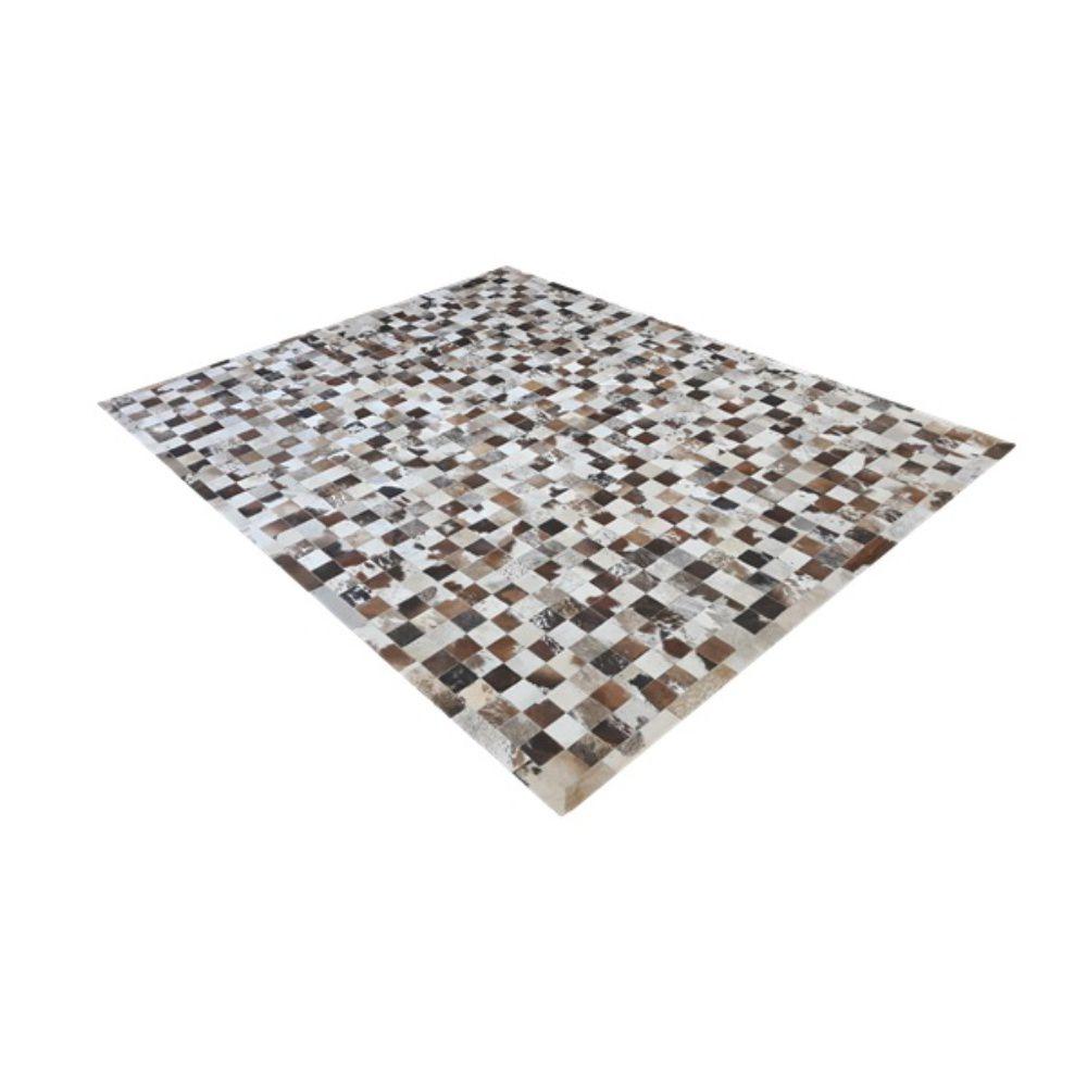 Tapete de Couro de Boi 2,5m X 2m Natural Costurado 7cm x 7cm Com Borda - OF29