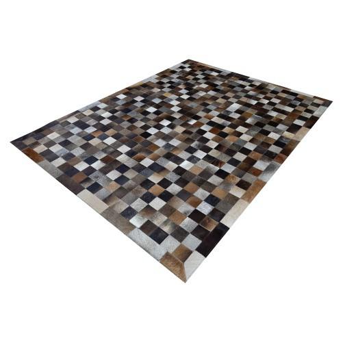 Tapete de Couro de Boi 2,5m X 2m Natural Costurado 7cm x 7cm Com Borda - OF41