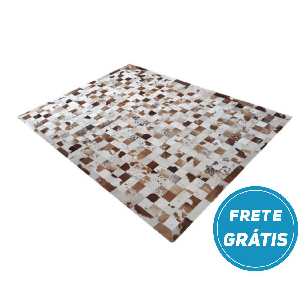Tapete de Couro de Boi 2m X 1,5m Natural Costurado 07cm x 07cm Com Borda - OF26
