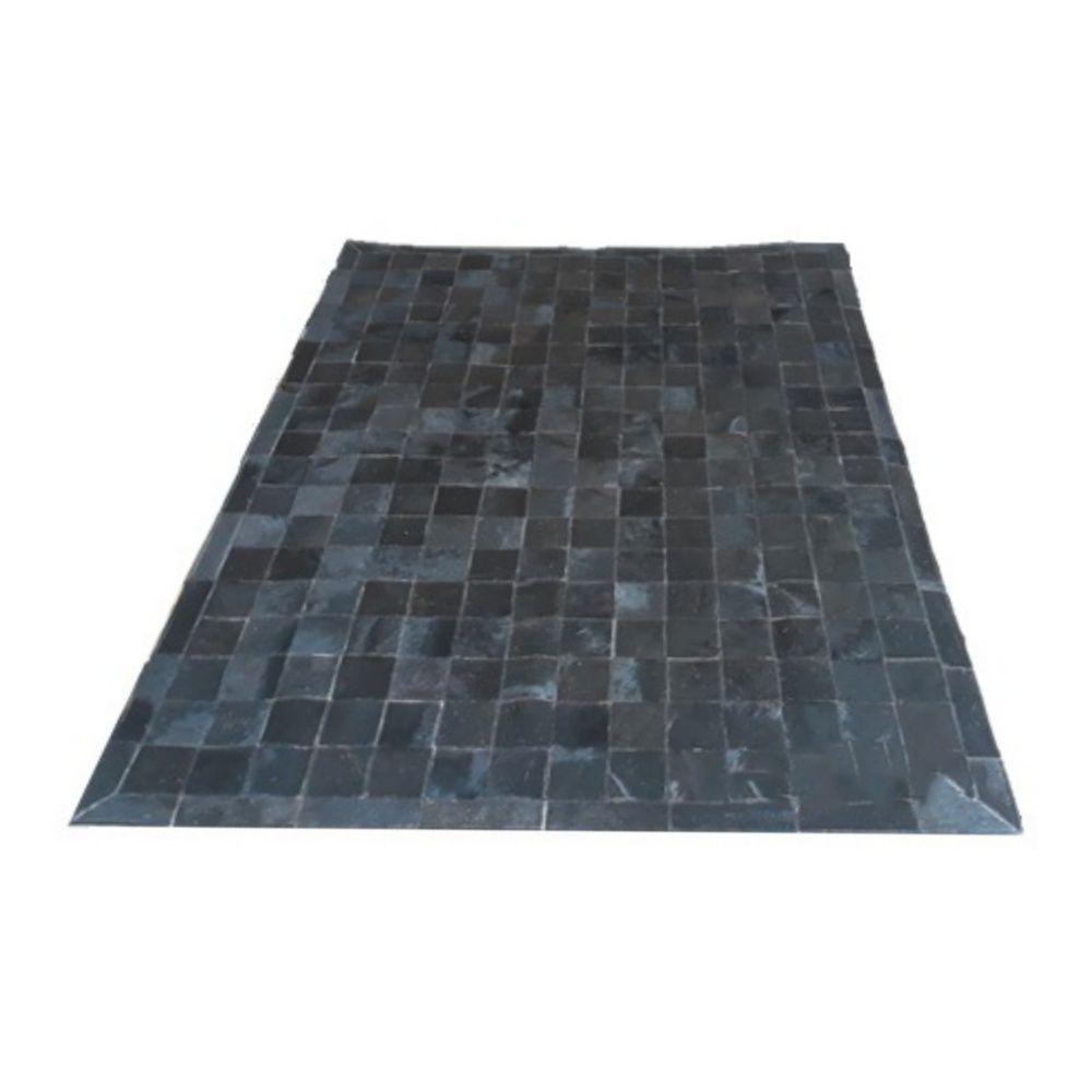 Tapete de Couro de Boi 2m X 1,5m Natural Costurado 10cm x 10cm Com Borda - OF08